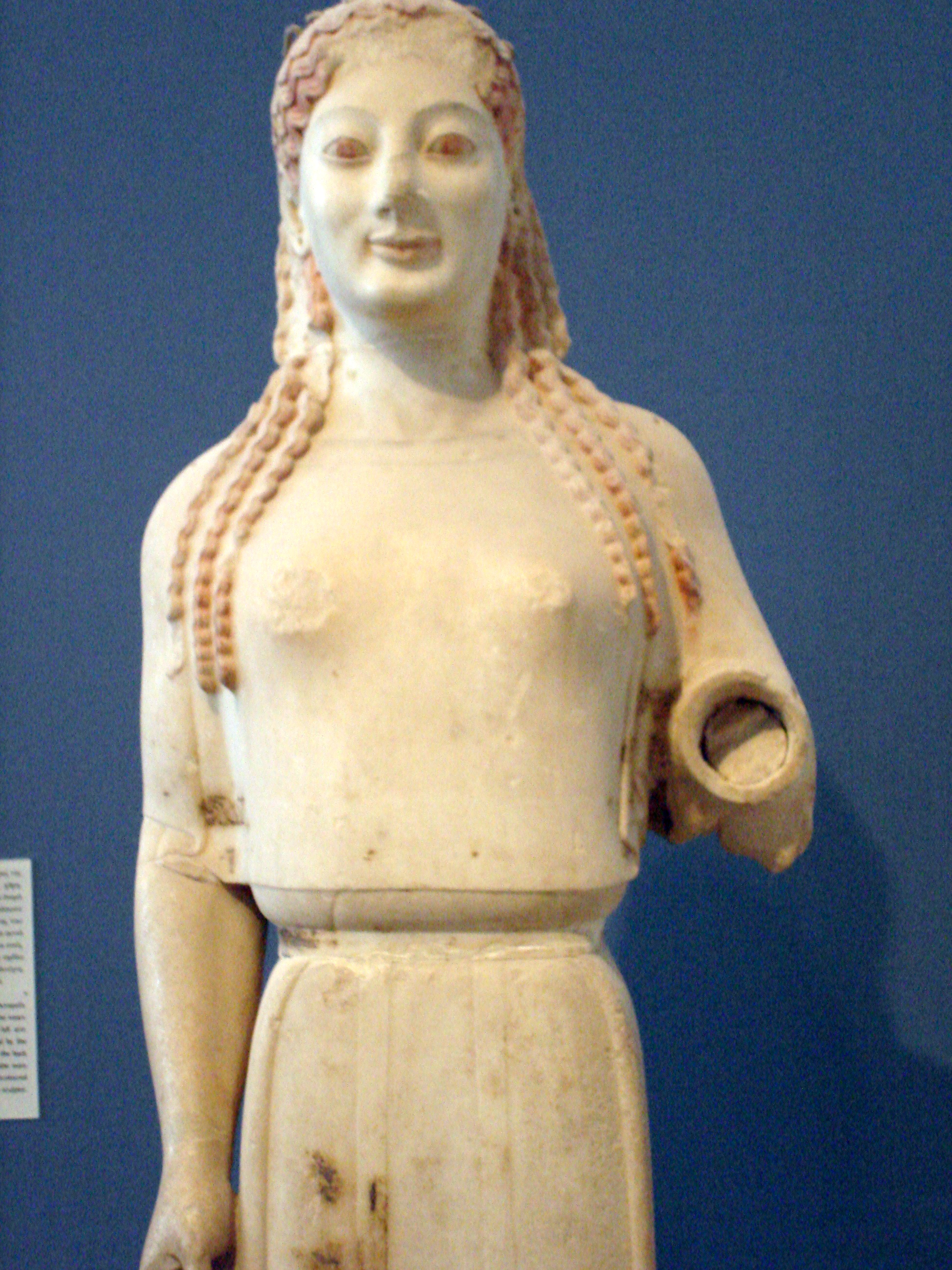 peplos kore Kore (pl korai) nikandre figure,  kore from acropolis- associated with a column bearing a signature of archermos of chios, c 520-510 peplos kore,.