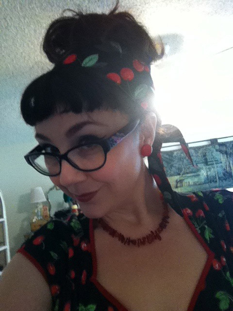 Planet Pinup cherry hairscarf and Pinup Couture Cherry Heidi Dress