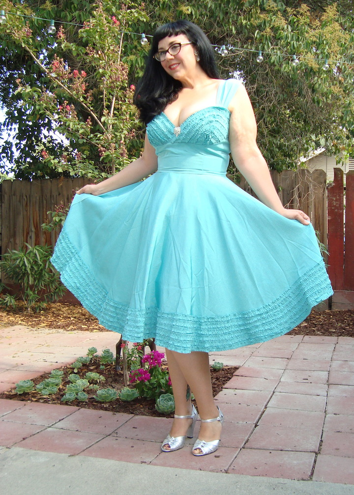 Trashy Diva Deb dress in pastel turquoise faille