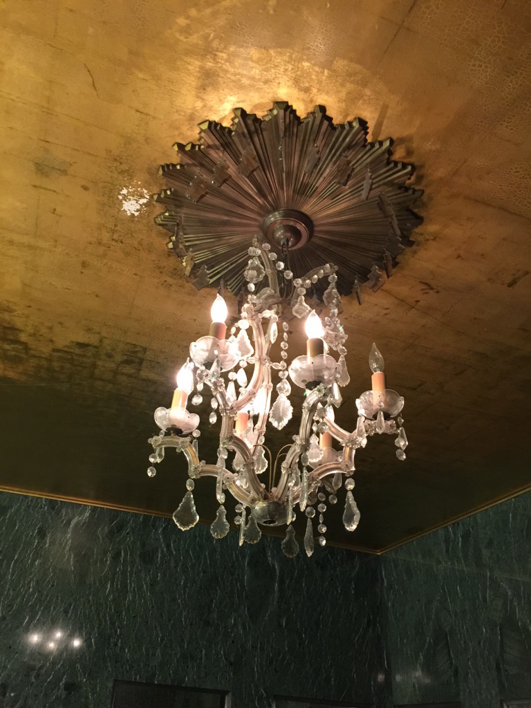I. Magnin bathroom: gold-leafed ceiling and crystal chandelier